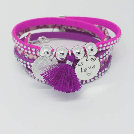 """Multi-row bracelet Liberty with etching """"LOVE"""" by Palilo"""