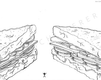 Sandwich Lineart | Coloring Page for Adults