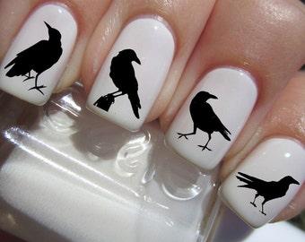 Black CROW / RAVEN Nail Art (RAV) Water Slide Transfer Decals Black Birds Not Stickers or Vinyl
