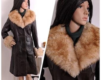 Vintage 60s 70s Brown Leather Faux Fur Collar Cuff Penny Lane Coat Boho / UK 10 12 / EU 38 40 / US 6 8