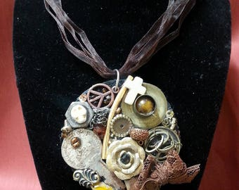 Steampunk Up-Cycled Junk Art Necklace