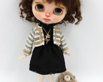 Girlish - Black Dress Set for Blythe doll - dress / outfit