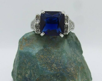 Sapphire Sterling Silver Ring, size 8.5