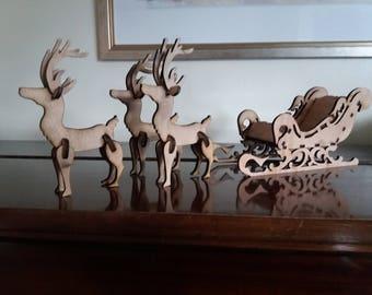 Laser Cut Santa Sleigh and 3 Reindeer