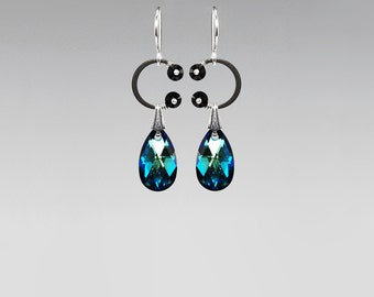 Bermuda Blue Swarovski Crystal Earrings, Metallic Blue, Statement Earrings, Crystal Teardrops, Bridal jewelry, Wire Wrapped, Eclipse II v25