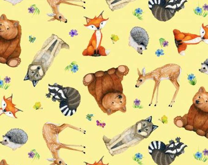Children's Fabric, Magic Forest Yellow Multi Tossed Animals Cotton Fabric 44-45 inches wide