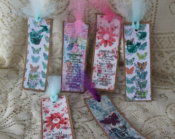 Six Floral bookmarks