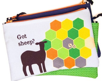 Zipper Bag, Got Sheep, Settlers of Catan, Notions Bag