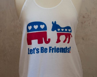 SALE Vote Kindly Tank - Republican Elephant and Democrat Donkey Show Love Political Tee