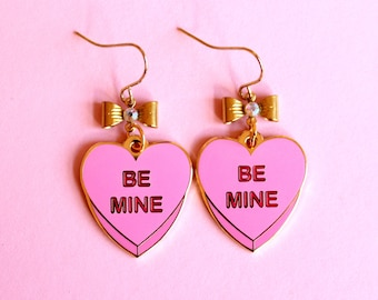 Be Mine Candy Heart Conversation Heart Valentine's Day Pink Enamel Charm Earrings, Gold Chain, Kawaii, Kitsch