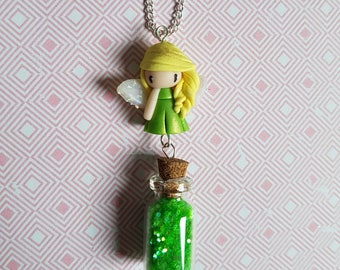 Necklace little green fairy with fairy dust