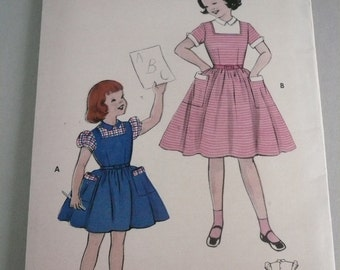 Vintage Butterick Pattern 7095 Girls Dress with Elastic Waist Back  Size 6