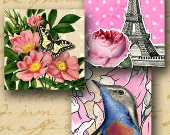 Vintage French Floral 2.5 inch square digital collage sheet -- piddix 799