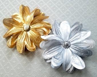 Metallic Rose or Dahlia Hair Flower Clip & Pin - Silver or Gold