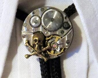 Skull N Cross Bones Bolo Tie - Steampunk Repurposed Watch Movement Bolo Slide With Skull And Crossbones - Rockabilly Country Western Wear