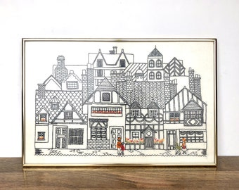 Vintage Wall Hanging   Large Village Crewel Embroidery Art   Home/Wall Decor