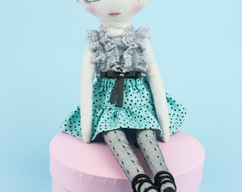 Handmade cloth doll / Fabric doll / Heirloom doll / Interior decor /Gift for girl