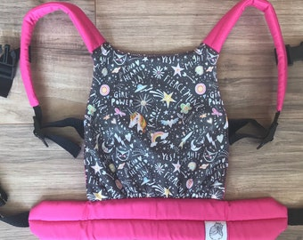 READY-TO-SHIP Grey and Pink Unicorn Graffiti Baby Doll Carrier