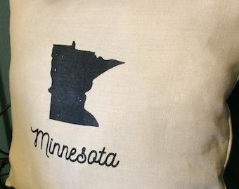 Minnesota Pillow Handmade Screen Printed