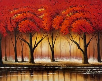 "Red Tree Forest with Bending River. 24"" x 36"" Hand Painted Oil Painting on Canvas. Comes stretched and ready to frame or hang."