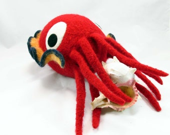 Cuttlefish Snooter-doot – felted wool toy, whimsical soft-sculptured doll, hand-knit plush, decorative red blue softie, collectible stuffie