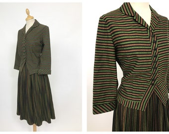 Vintage 1950s green, black and rusty red striped pleateds skirt suit dress 2 pc - size S/M