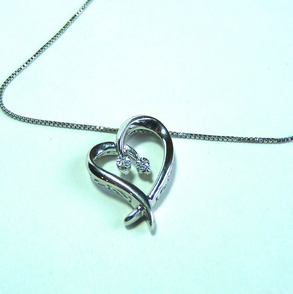 NECKLACE ~ FLOATING HEART ~ Two Diamonds ~ Sterling Silver Heart and Chain ~ Great Gift ~ Birthday ~ Bridal ~ Bridesmaid Gift