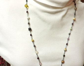Neutral Color Casual Necklace w/ Silver Accents to wear with anything ...  about 32 inches long
