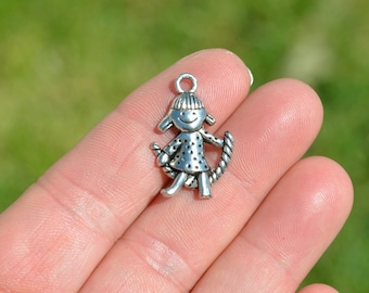 10 Silver Little Girl Charms SC2709