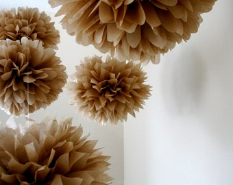 NEUTRAL / 10 tissue paper pom poms / natural burlap forest woodland wedding decorations / brown tan nursery decor / gender reveal party