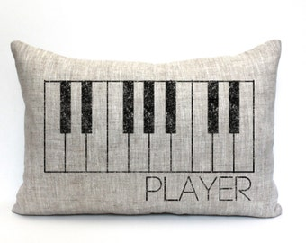 "piano pillow, music teacher gift, music lover gift, piano player gift, musical gift, christmas gift - ""The Piano Player"""