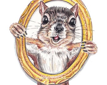 Cute Squirrel Art PRINT - Crayon Drawing, Funny Nursery Art, Gold Picture Frame, Canadian Wildlife