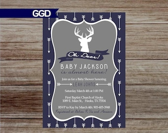 Oh Deer Baby Shower Invitation, tribal baby shower invite, deer baby shower, baby boy shower invite, little buck baby shower, deer oh deer