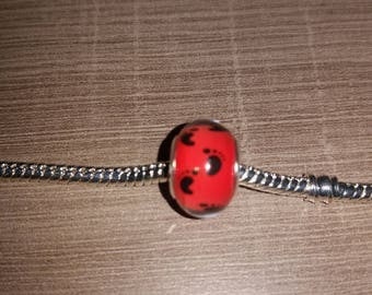 (Charms) - footprint foot baby red and black European bead