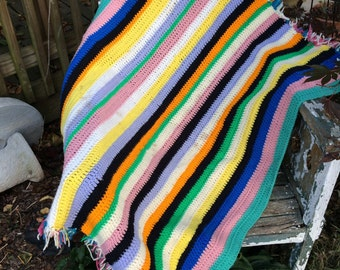 Vintage Hand Crochet Yellow, blue, Pink, Black, and Gold Stripe Afghan/Lap Throw with Fringe