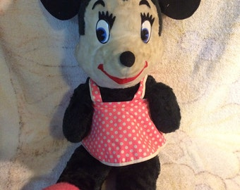 "Vintage Minnie Mouse 1950s 1960s Walt Disney Character Plush Doll Large 22"" Disneyland California Stuffed Toys"