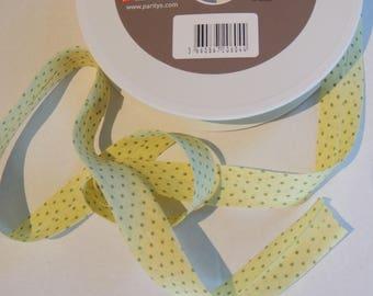 Yellow cotton bias with green polka dots
