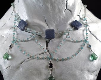 Sterling Silver Necklace with  Apatite, Fluorite, Coral & Sapphire