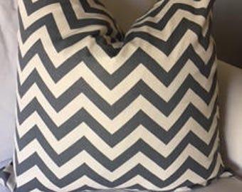 Grey/Ecru Chevron Pillow