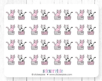 Kawaii Clean Cat Litter Box Planner Stickers Pink Kitty Stickers
