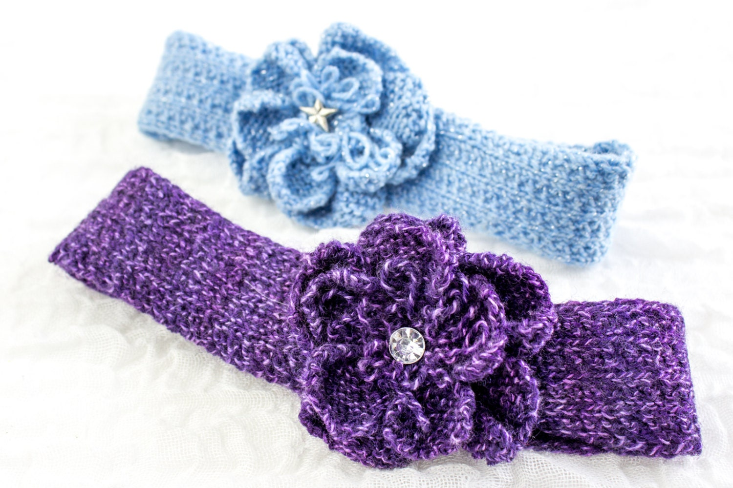 KNITTING PATTERN, Baby Headband , Knit Flower Headband, Knit Rose ...