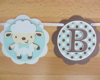 Lamb Sheep Baby Boy Shower Birthday Party Banner Sign Blue Brown