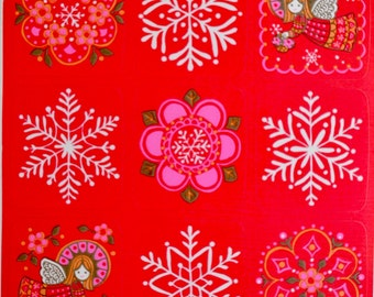 Vintage Christmas Stickers - Mod Pink Angels and Snowflakes - Hallmark Sheet of 9