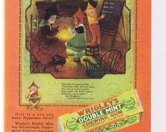 1928 Wrigley's Double Mint Chewing Gum MOTHER GOOSE Print Ad