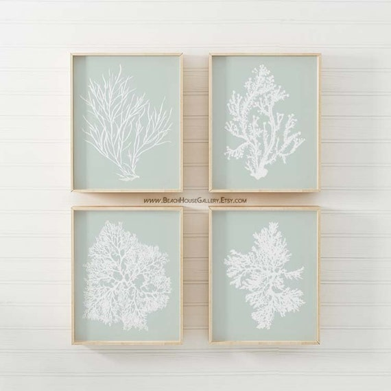 Sage Wall Art Palladian Blue Art Sea Foam Green Coral Print