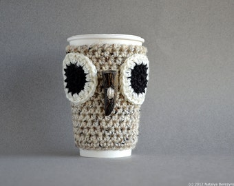 Crochet Pattern, Crochet Coffee Cozy Pattern, Crochet Coffee Sleeve Pattern, Crochet Owl Coffee Sleeve Pattern, Crochet Owl Pattern Owl Cozy