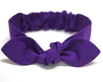 "Purple Knot headband, Womens Headband, Adult Headband, Headband for Women, Girl Headband, Bow Headband, Girl, Women, Headband, ""Queen"""