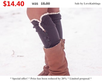 Sale 20% Off   Leg Warmers, Best Selling Socks, Gift, Women's Accessories, Stocking Stuffers, For Her, Full Button Leg Warmers LoveKnittings
