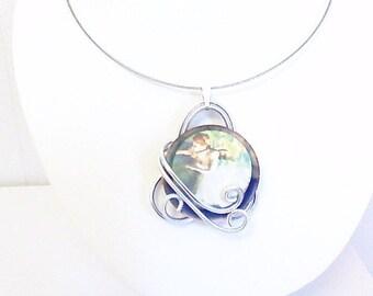 Necklace, spiral pendant, dancer,