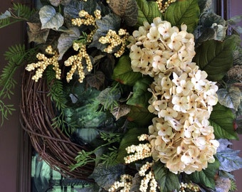 Hydrangea Wreath, Front Door Wreath, Ivory Hydrangea Wreath, Summer Wreath, Neutral Wreath